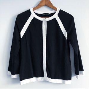 Cable & Gauge Color Block Black & White Cardigan